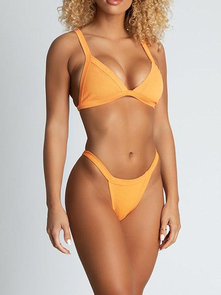 Esme Ribbed Triangle Bikini Bikini Sets Orange