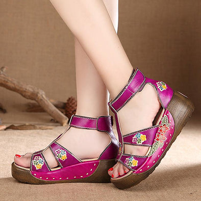 Summer New Leather Cowhide Thick Bottom Flat Sandals