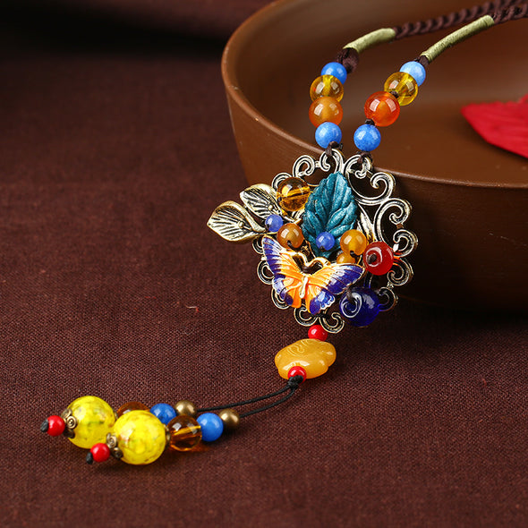 Cloisonne Butterfly Pattern Fashion Vintage Bohemia Necklace