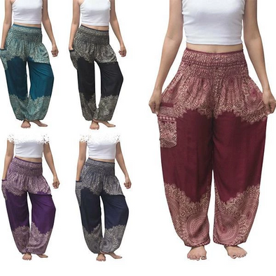 Boho Thai Mandala Feathers Harem Yoga Pants