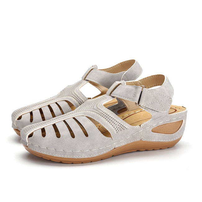Hollow Out Lightweight Pure Color Breathable Hook Loop Wedges Sandals - coolbuyshopstore