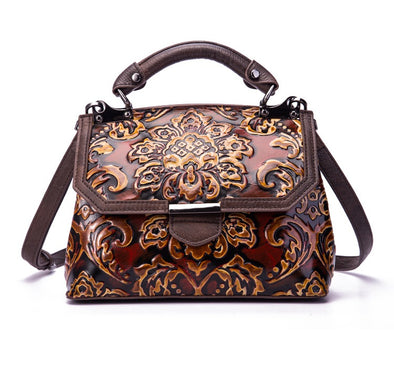 Vintage Cowhide Embossed Portable Fashion Bag for Women