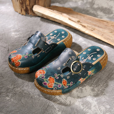 Retro Printed Handmade Flat Sandals