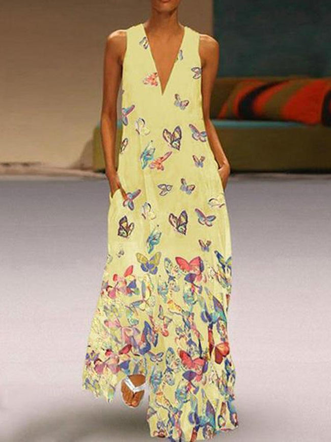 Elegant Butterfly Print Bohemian Sleeveless Maxi Dress - coolbuyshopstore