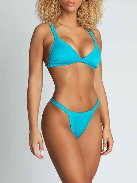 Esme Ribbed Triangle Bikini Bikini Sets Turquoise
