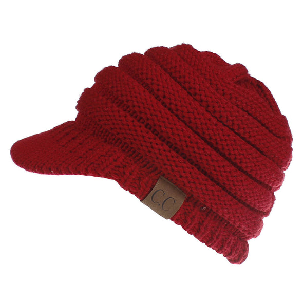 Women's Warm Chunky Cable Knit Messy Bun Hat Ponytail Visor Beanie Cap
