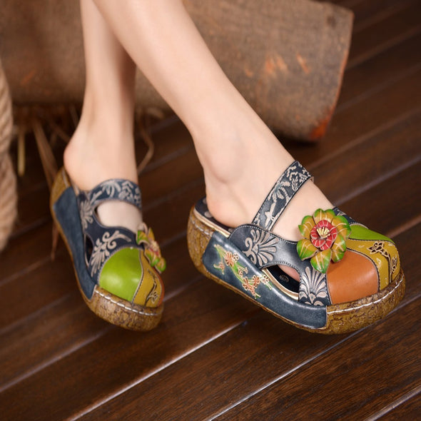 Retro Printed Full Leather Handmade  Flat Shoes Sandals