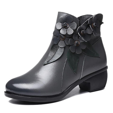 Handmade Ethnic Style Leather Comfortable Low Boots