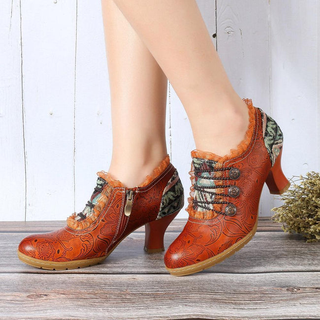 Retro Heel Genuine Leather Splicing Zipper Lace Up Ankles - coolbuyshopstore