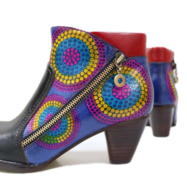 Vintage Element Splicing Printed Ankle Boots - coolbuyshopstore