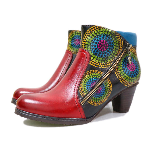 Vintage Element Splicing Printed Ankle Boots