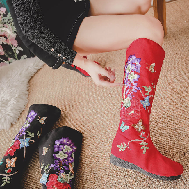 __IMITED__ational Embroidered Canvas Side Zipper Women's Boots - coolbuyshopstore