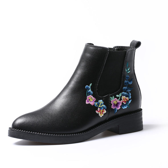 Vintage Flower Pattern Chelsea Boots