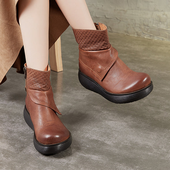 Retro Handmade Leather Fashion Stitching Platform Boots