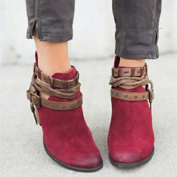 Flocking Casual Adjustable Buckle Ankle Boots
