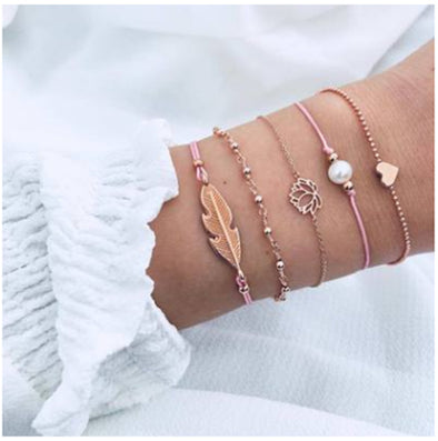 Woven Bracelet Pearl Love Lotus 5 Pieces Set