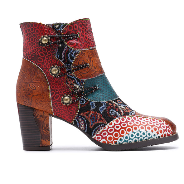Women's Vintage Splicing Printed Ankle Boots