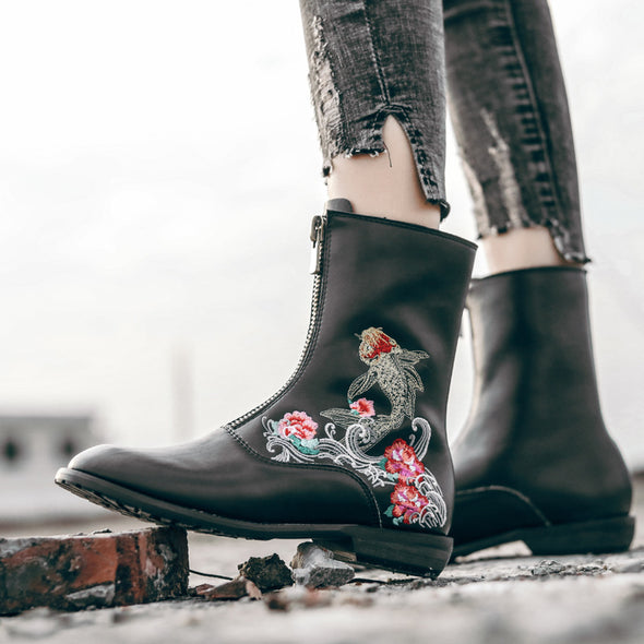 Leather Floral Pattern Plus Velvet Ankle Boots