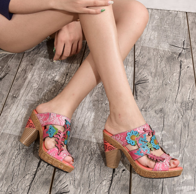 Fish Mouth High Heel Leather Printed Wedge Sandals-pink - coolbuyshopstore