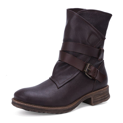 Soft Bottom Round Head Leather Casual Martin Boots