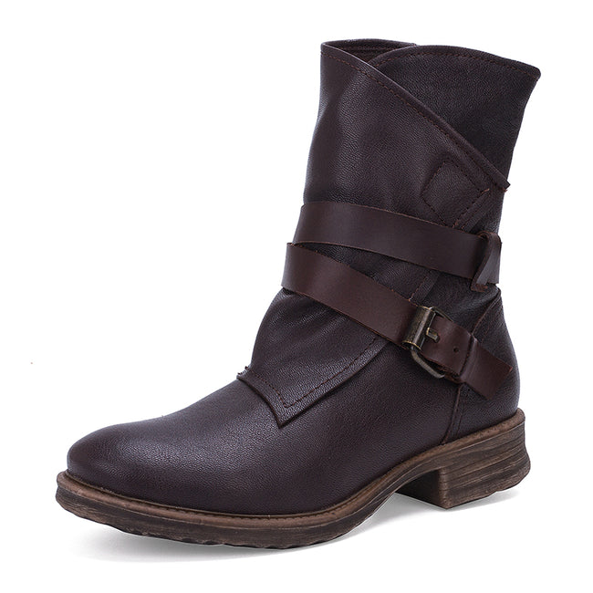 Soft Bottom Round Head Leather Casual Martin Boots - coolbuyshopstore