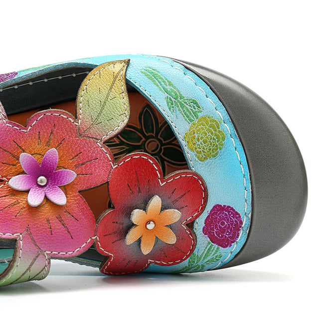 Genuine Leather Retro Splicing Flowers Pattern Stitching Sandals - coolbuyshopstore