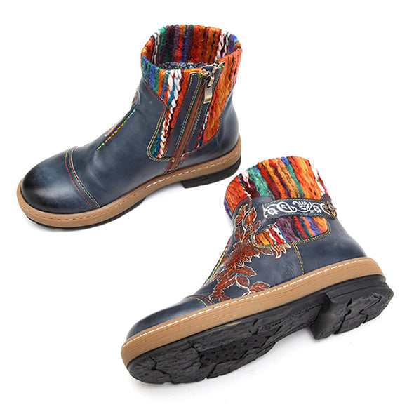 【LIMITED】Handmade Leather Stitching Wool Knitting Crafts Women's Boots