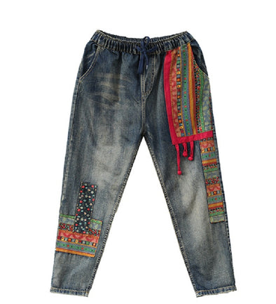 Vintage Embroidered Loose Jeans
