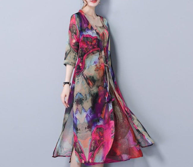 Women Floral Print Two Pieces Set Straps 3/4 Sleeve Vintage Dress-Clothing-coolbuyshopstore