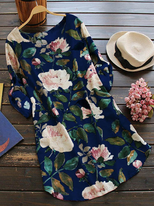 Women Floral Print Long Sleeve Shirt - coolbuyshopstore