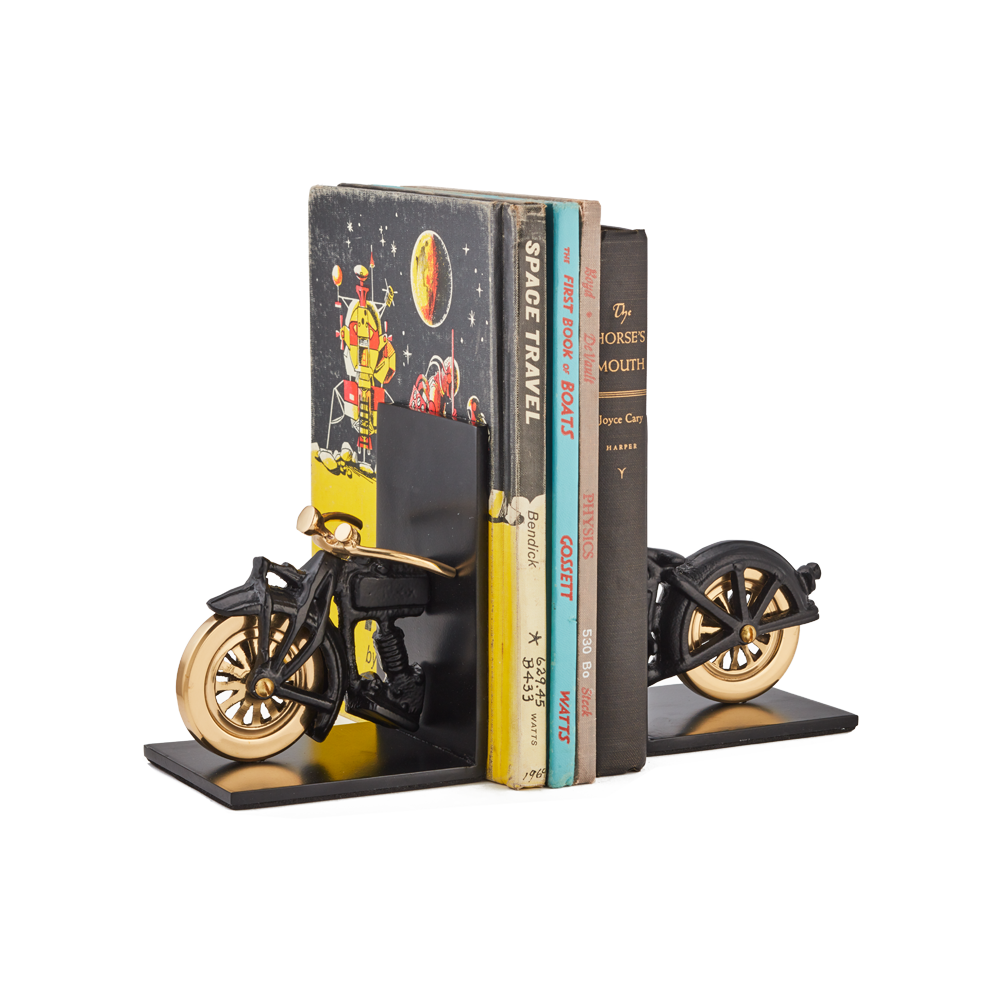 Motorcycle Bookends Black