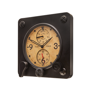 Flight Timer Wall Clock Black