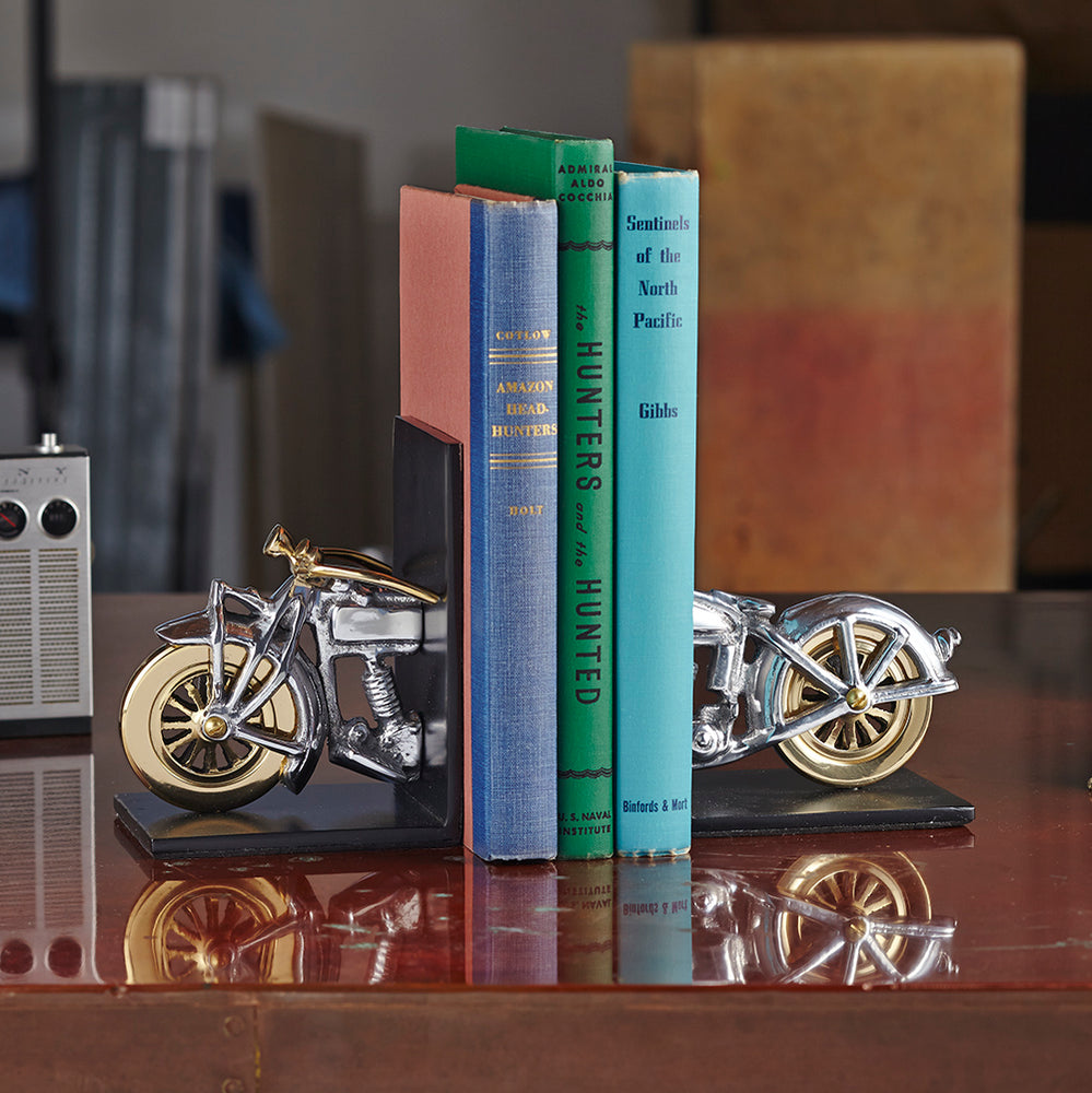 Motorcycle Bookends Aluminum