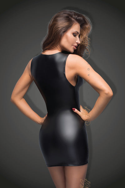 schwarzes Powerwetlook Minikleid