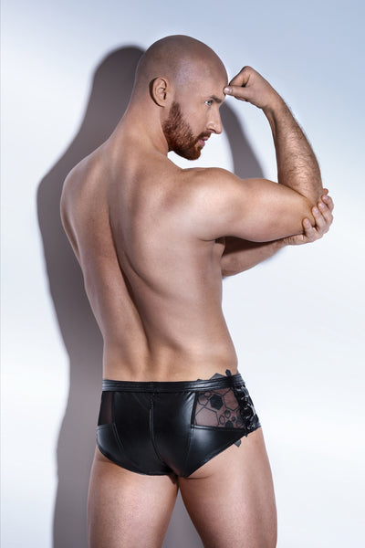 schwarze Powerwetlook Herrenshorts