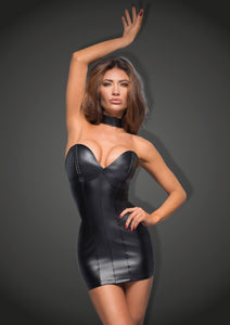 schwarzes Powerwetlook Minikleid mit Ecoleather cups