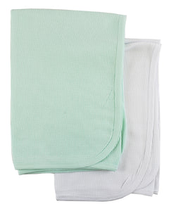 White And Mint Thermal Blankets