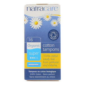 Natracare 100% Organic Cotton Tampons Super W-applicator - 16 Tampons