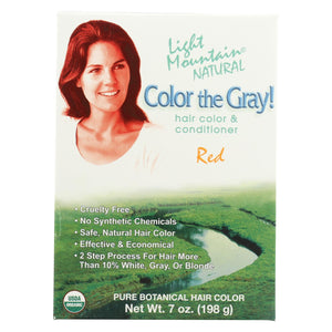 Light Mountain Hair Color - Color The Gray! Red - Case Of 1 - 7 Oz.