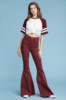 Burgundy High Waisted Super Flare Jean