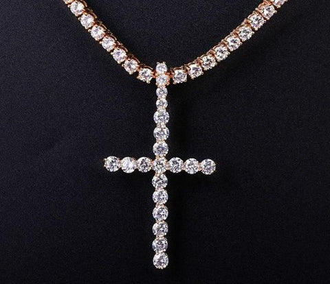 "3"" Diamond Cross + Round Cut Tennis Necklace"