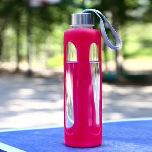 18.6 oz Glass Water Bottle with Silicone Sleeve