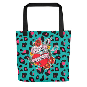 Twisted Scissors - Green Leopard - Tote bag