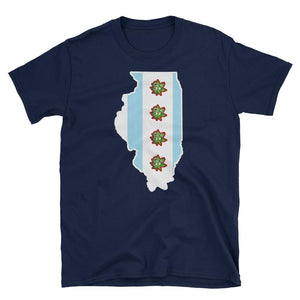 South Side Smoke Shop - Illinois Outline Chicago Flag - Short-Sleeve Unisex T-Shirt