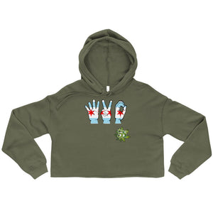 South Side Smoke Shop - 420 Chicago Hands - Womens Crop Top Hoodie
