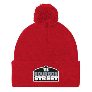 Bourbon Street - Black Sign - Pom Pom Knit Cap