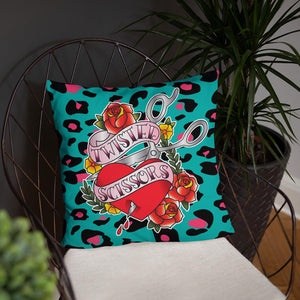 Twisted Scissors - Green Leopard - Basic Pillow