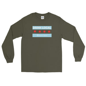 Rayan's Liquors - Drink Local Chicago Flag - Long Sleeve T-Shirt