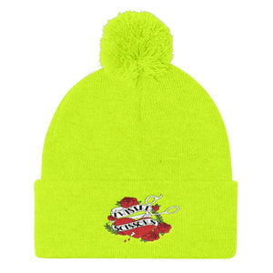 Twisted Scissors - Embroidered - Pom Pom Knit Cap