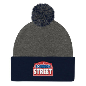 115 Bourbon Street - Red Sign - Pom Pom Knit Cap